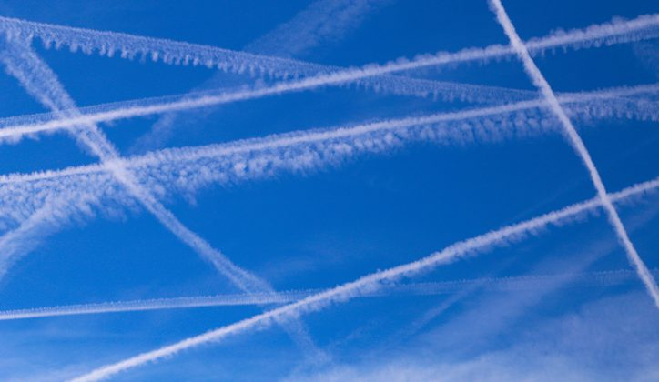Chemtrails, according to the unproven chemtrail conspiracy theory, are long-lasting trails left in the sky by high-flying aircraft consisting of chemical or biological agents deliberately sprayed for sinister purposes undisclosed to the general public. Believers in the theory argue that normal contrails dissipate relatively quickly, and contrails that do not dissipate must contain additional substances.